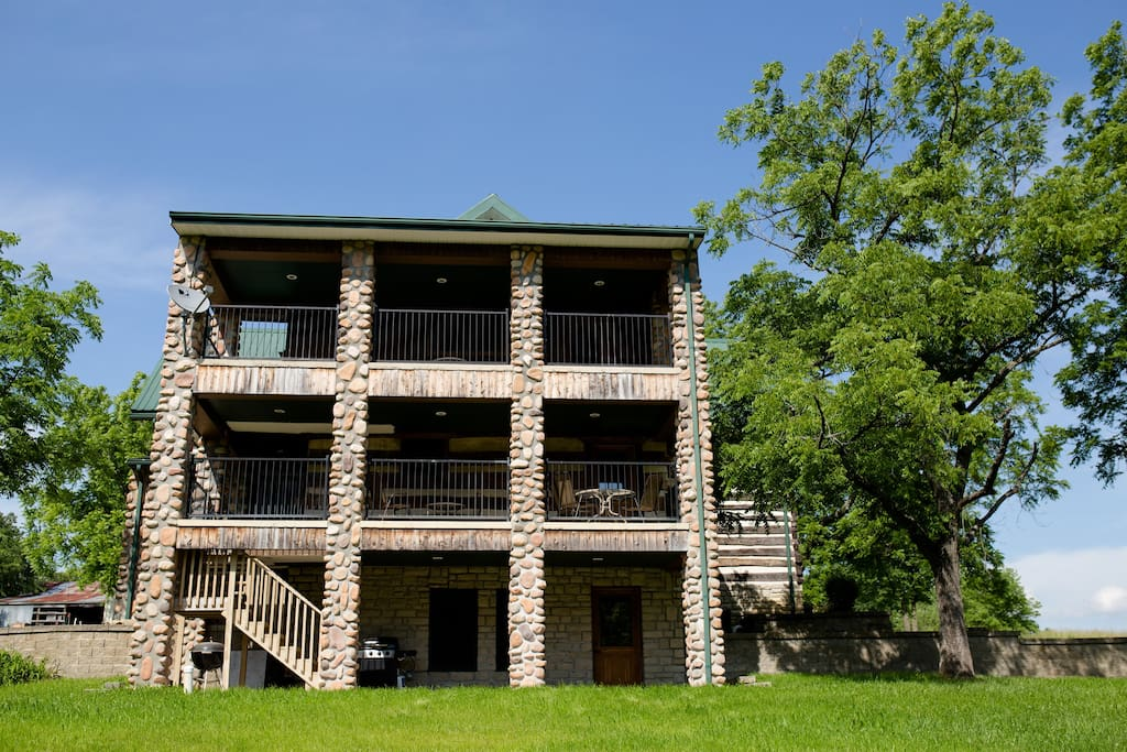 Each floor has a deck on it.  The upstairs has a private deck off the bedroom that has two beds in it.