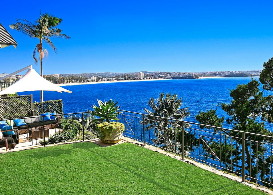Terraced lawns and gardens with magnificent ocean and coastline views