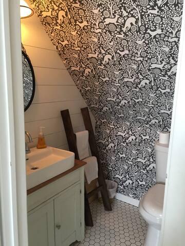 Upstairs half bath, recently renovated