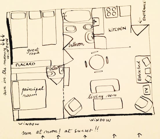 Map of the apparment. We have drawing limitations, but it helps to picture how the space distribution is made!