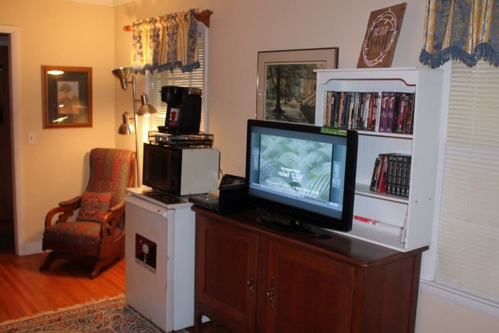 Guests have access to their own living area equipped with television, refrigerator, microwave,and Keurig coffee maker.