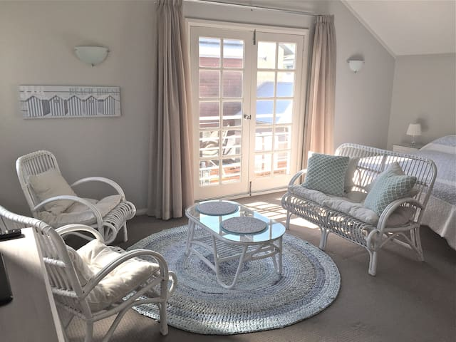 The studio has French doors opening to a Juliette balcony overlooking local street and park.