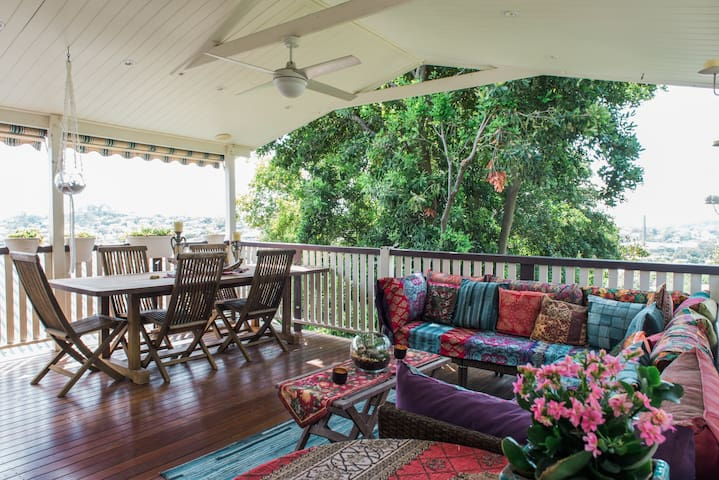 Back deck off kitchen with breezes and views