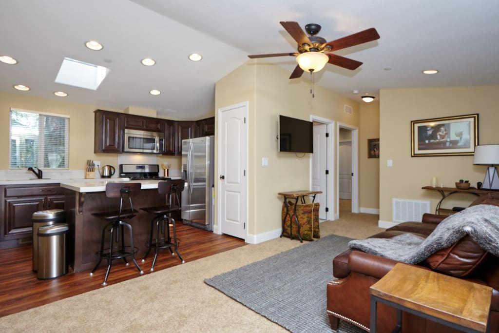 Full kitchen, leather couch, flat screen tv, ceiling light, wireless internet.