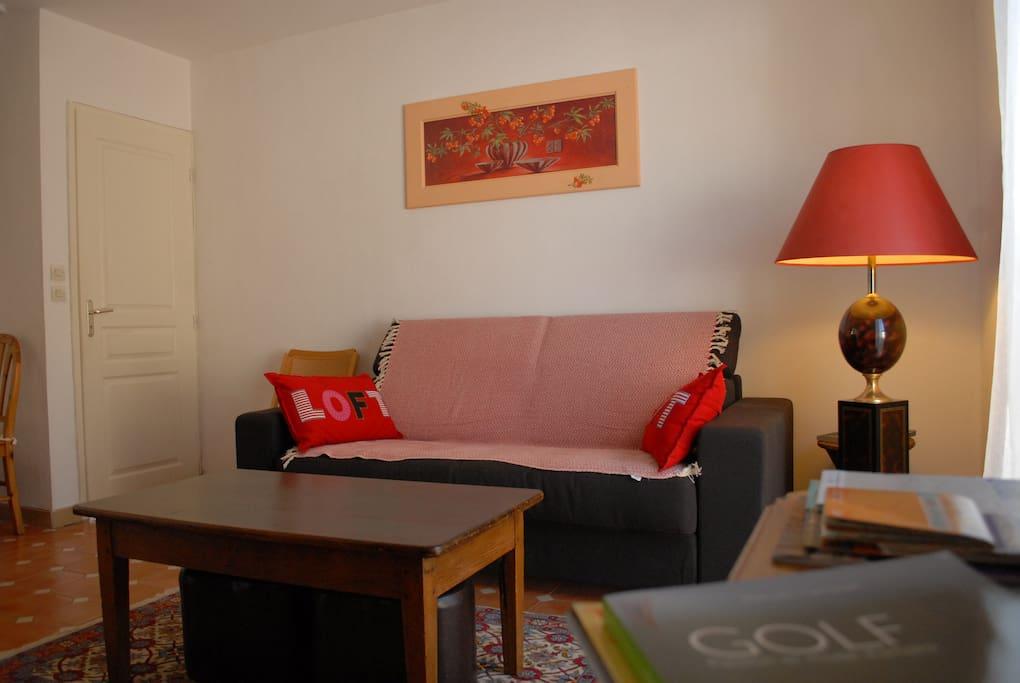 Salon chaleureux avec un confortable canapé-lit