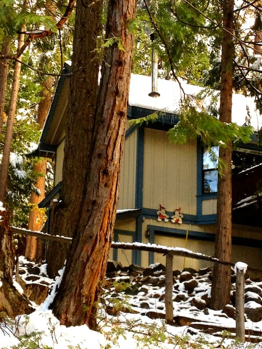 The Sierra Mountain House with light snow - nestled among the pine, cedar and redwood trees -- a four season vacation destination!
