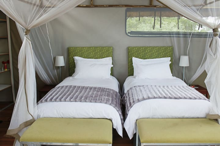 Twin beds Chalet interior