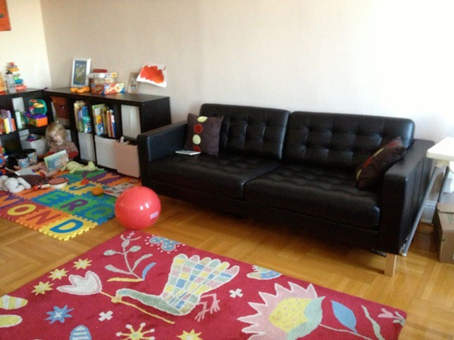 This is the larger couch. The cushions at the back come off and make the bed a bit narrower than a single.