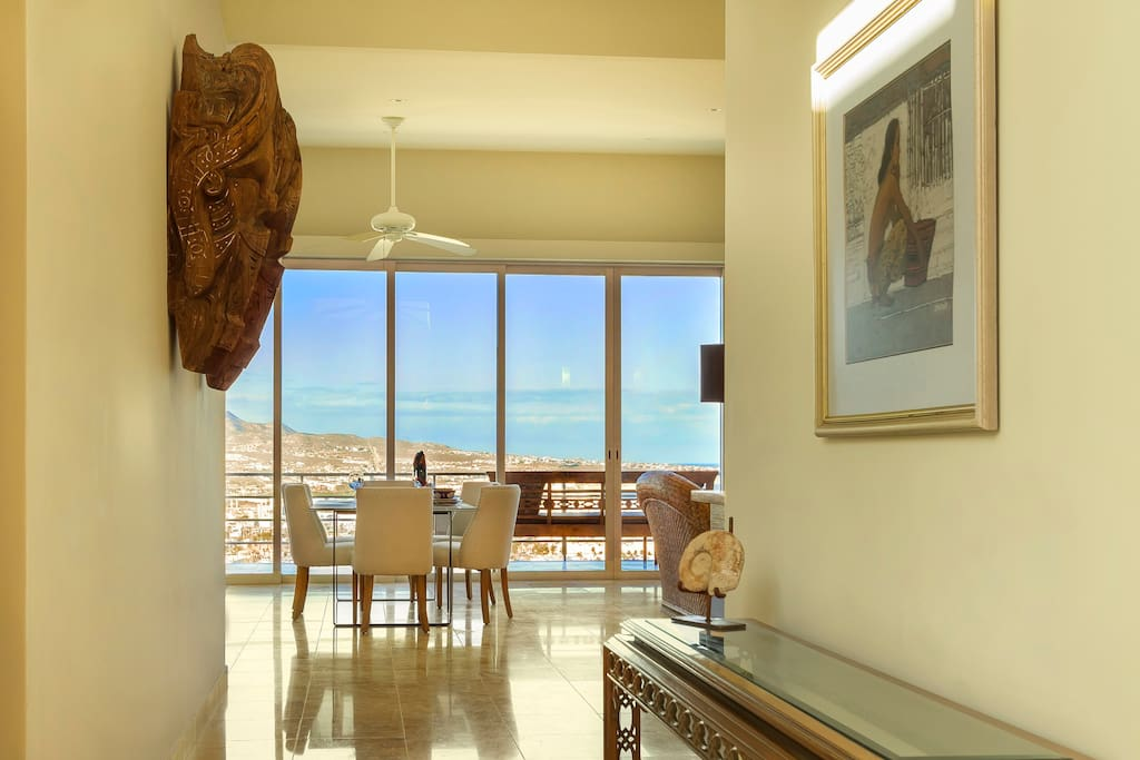 Exit your private, keyed elevator and drink in the views  to the Sea of Cortez through 24 ft of glass