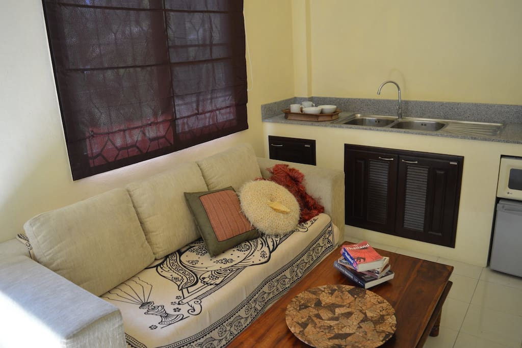 The living area and kitchenette