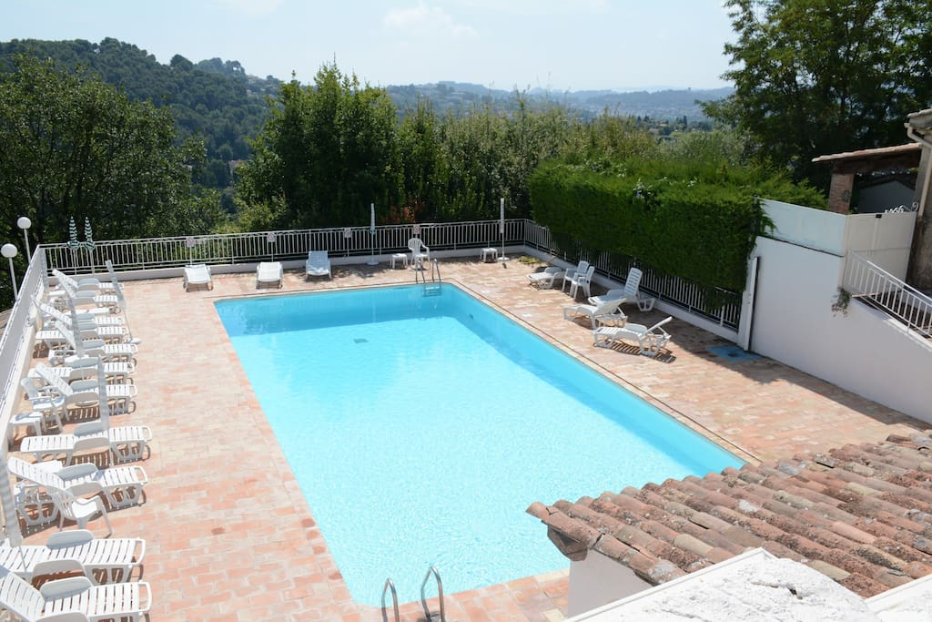 Shared pool adjacent to the house, open May to October