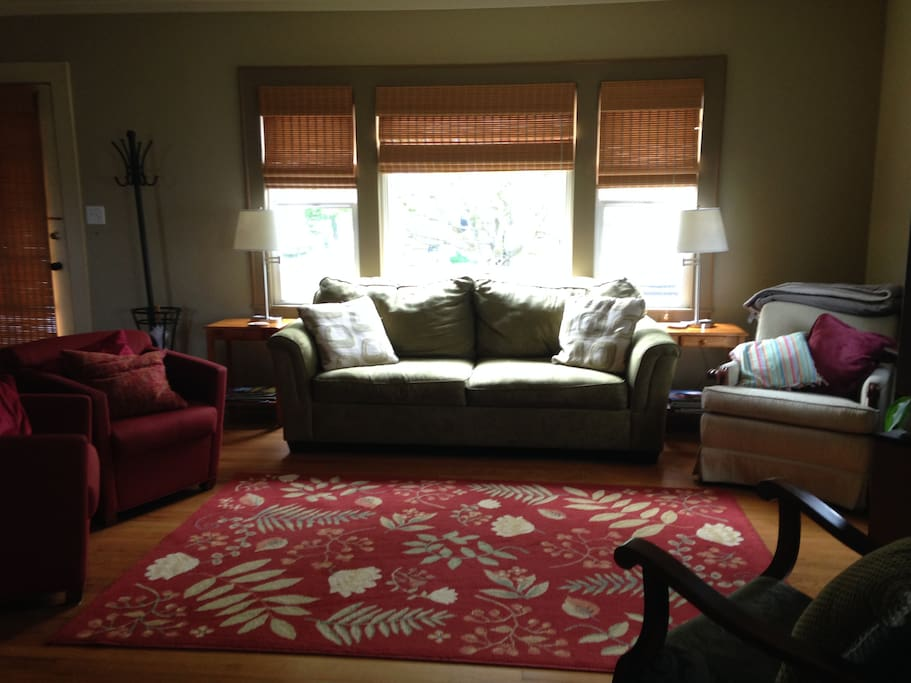 Large living room, with queen-sized sofa sleeper.