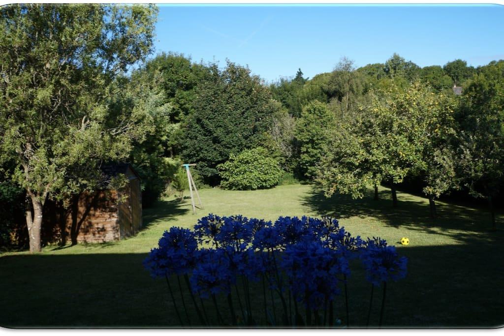 Vue sur le jardin depuis la terrasse