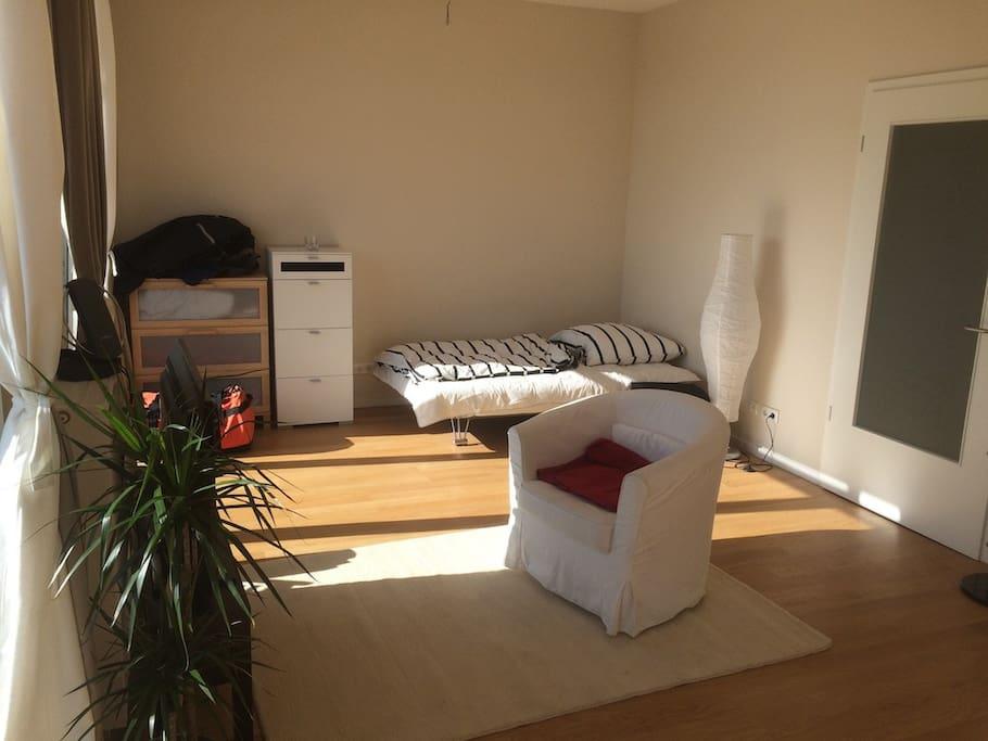 Schlafcouch und Sofa sind inzwischen gegen richtiges Futonbett und Couch ausgewechselt :)