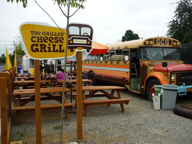 Grilled Cheese Grill, eat your sandwich on a school bus converted into a dining car.