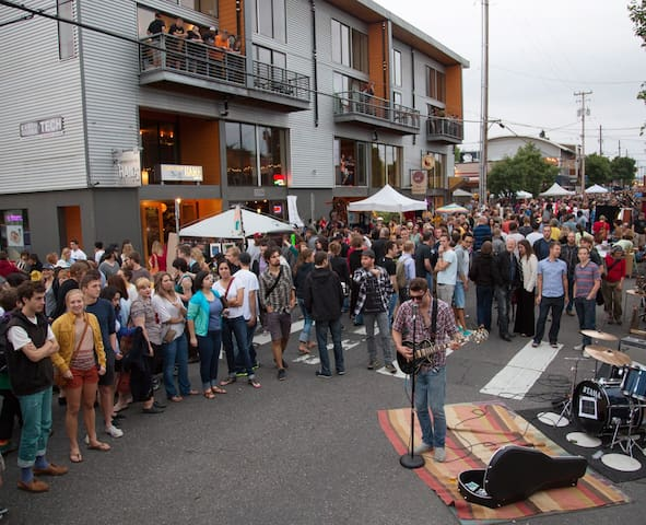 Last Thursday, Alberta Arts street fair. The street shuts down for vendors and artists to sell their wares. Expect great people watching!