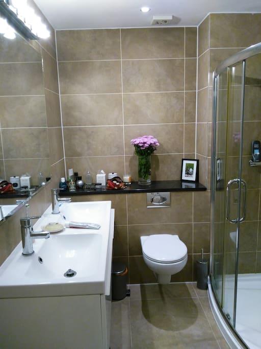 Bright bathroom with walk in shower