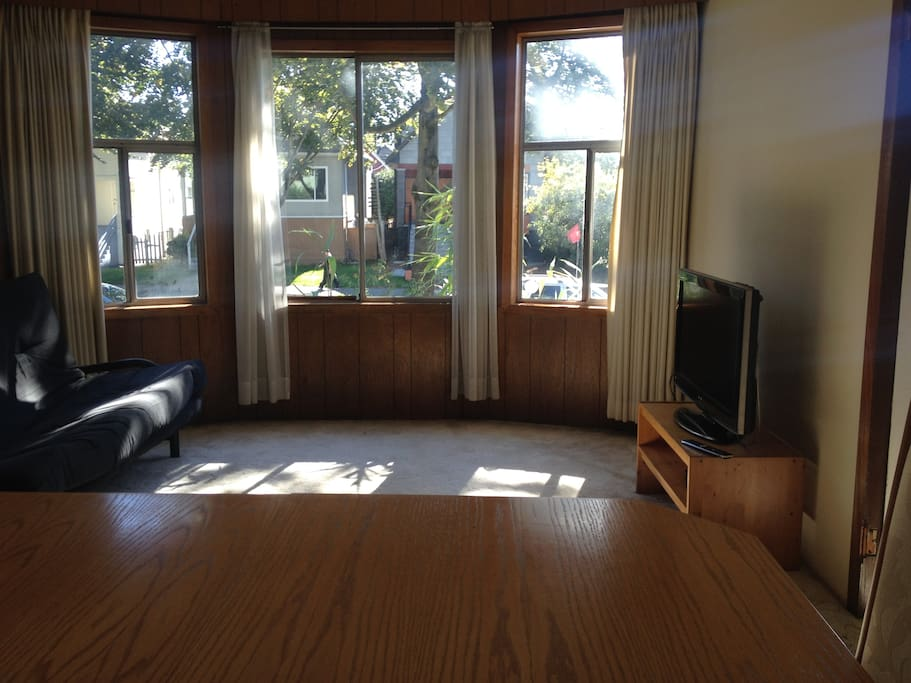 Living room, futon with double matteress and is double bed sized and LCD TV with full cable.