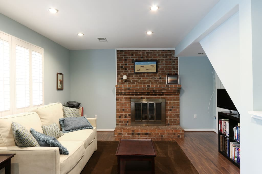 The fireplace works and there is a tv with cable.