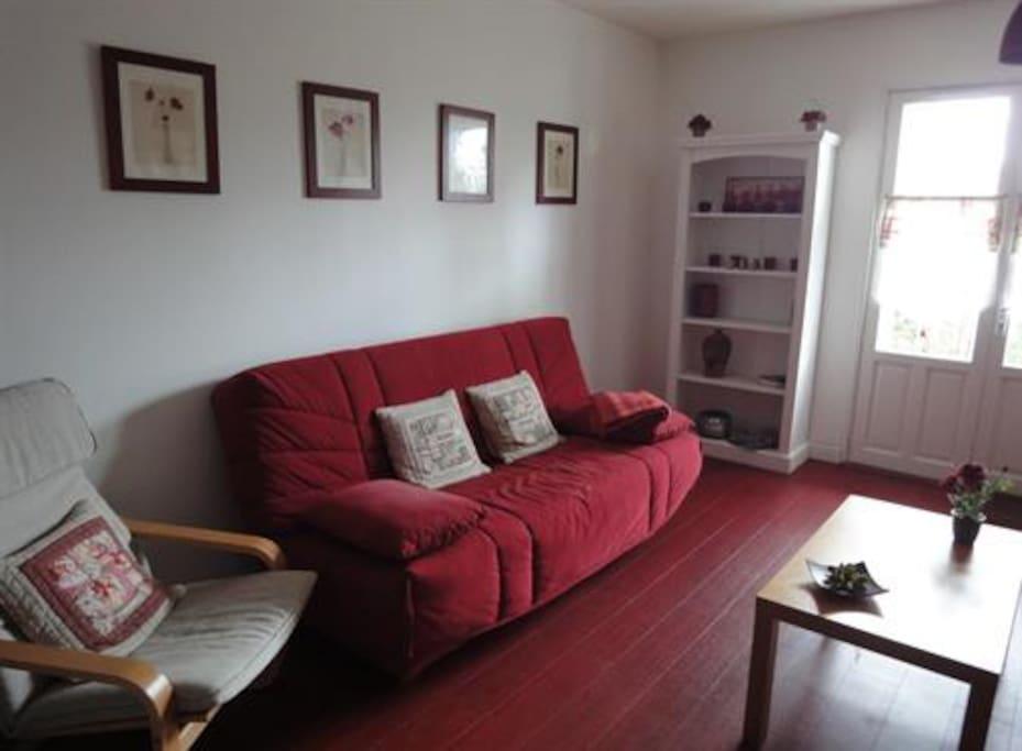 Salon agréable, douillet avec une décoration soignée, avec un canapé-lit de qualité!