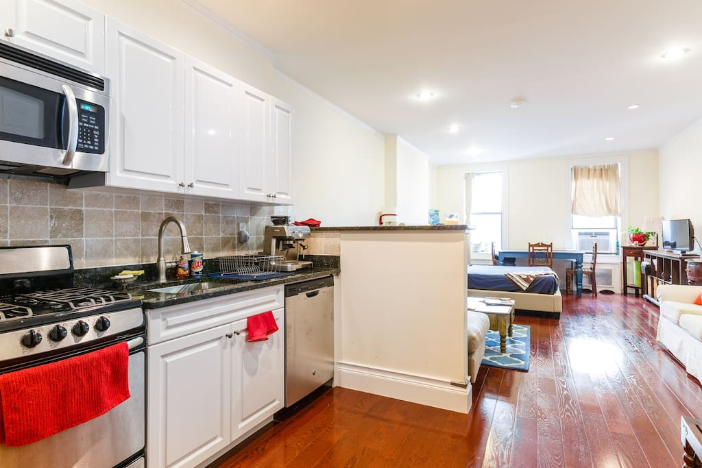 Studio has open layout and room for dining area as well as couch/living area.