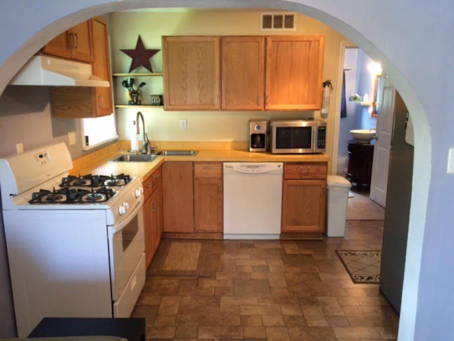 Clean, updated kitchen with what you need to prepare meals
