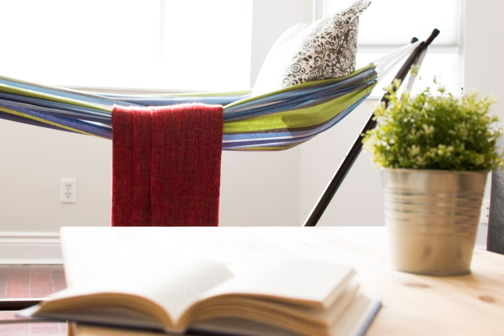 Enjoy a good read on the hammock, or a good nap.