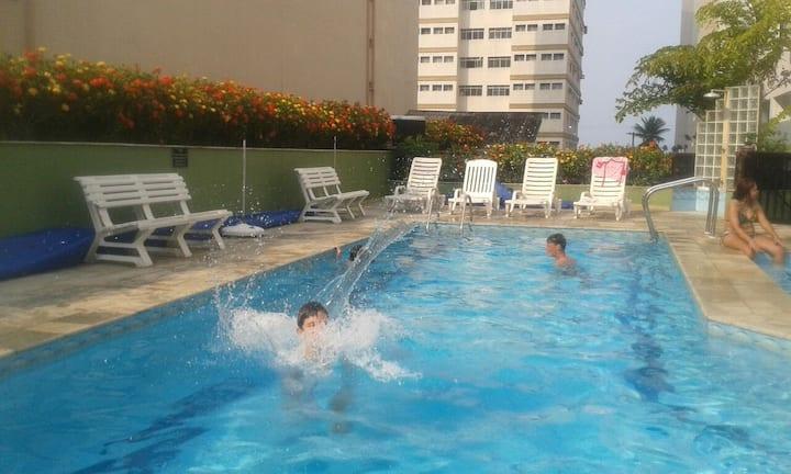 Guarujá 50m Praia | Piscina Aquecida | Home Office