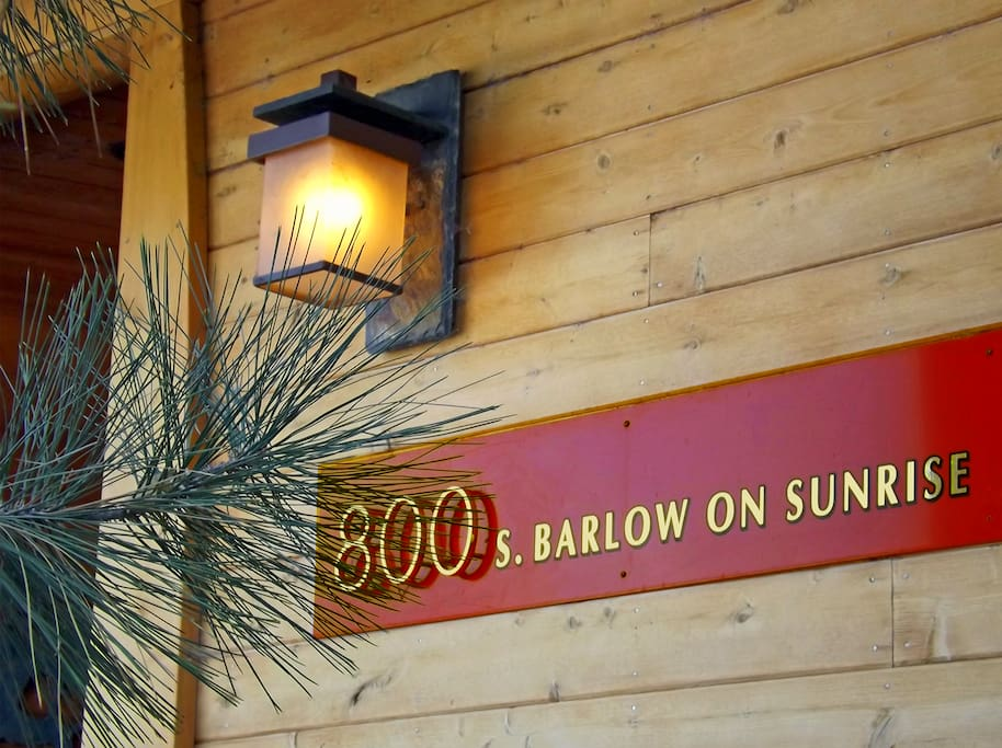 The 800 S. Barlow Lane Entrance Sign is on the Sunrise Street Side of the corner lot .