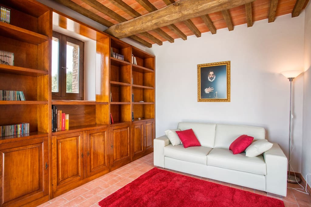 Library room with books for relaxing and reading while looking into the beautiful countryside and views