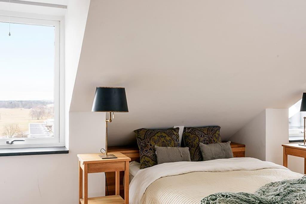 The master bedroom overlooking Gärdet.