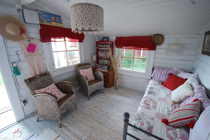 Summer house- Bedroom no. 2. There is 1 double bed and 2 single beds