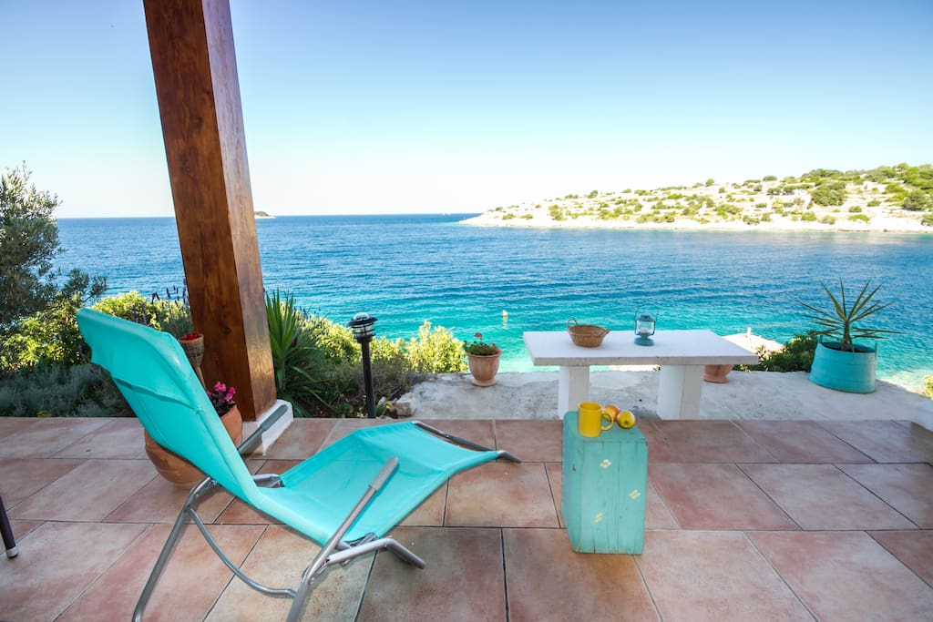 It is hard to decide where to stay - on your own terrace or on the beach directly under....