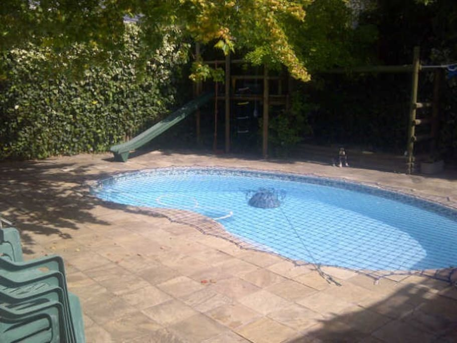 Pool in small garden area, with a built-in barbecue facility