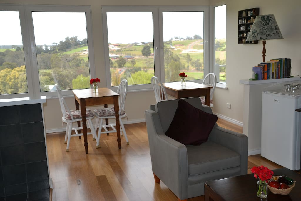 Guests sitting room overlooking the valley