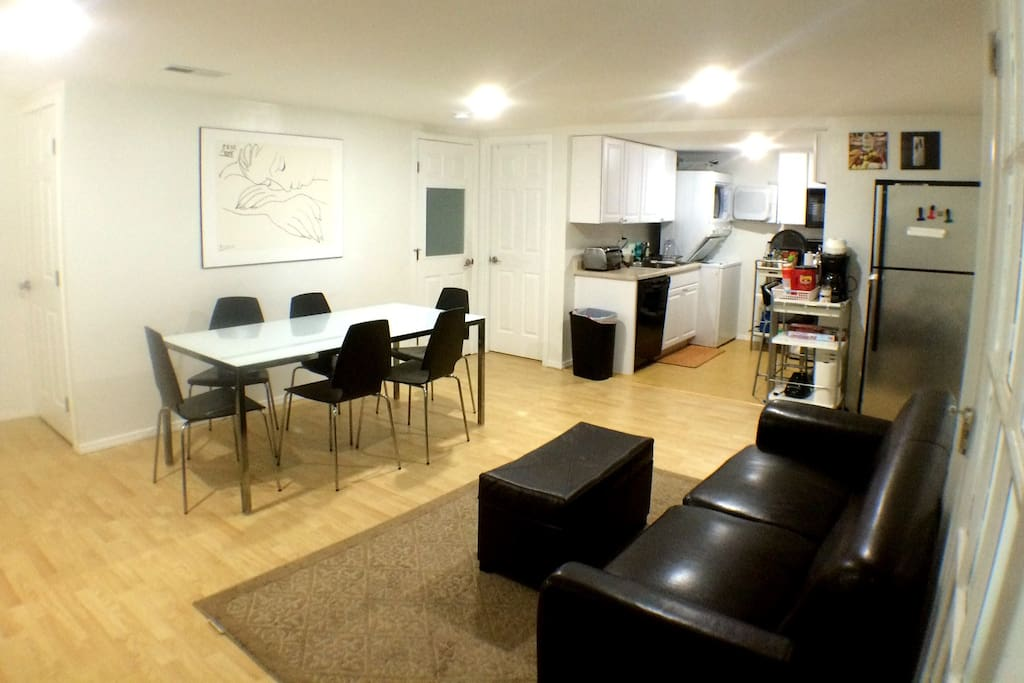 Living and Dining area with a small kitchen.