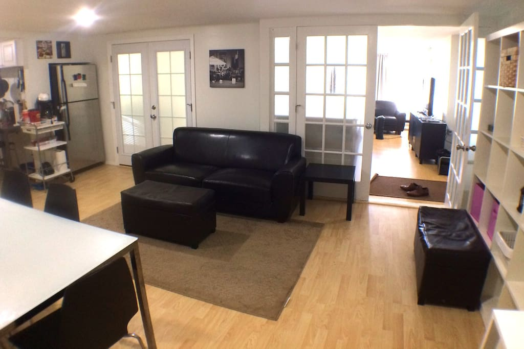 Another photo of living area, looking into the game room.