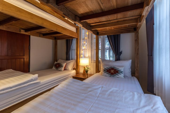 Bunk bed bedroom, 2 Bunk beds, Comfy Firm & Soft Mattress, en-suite bathroom, Garden View with private access downstairs
