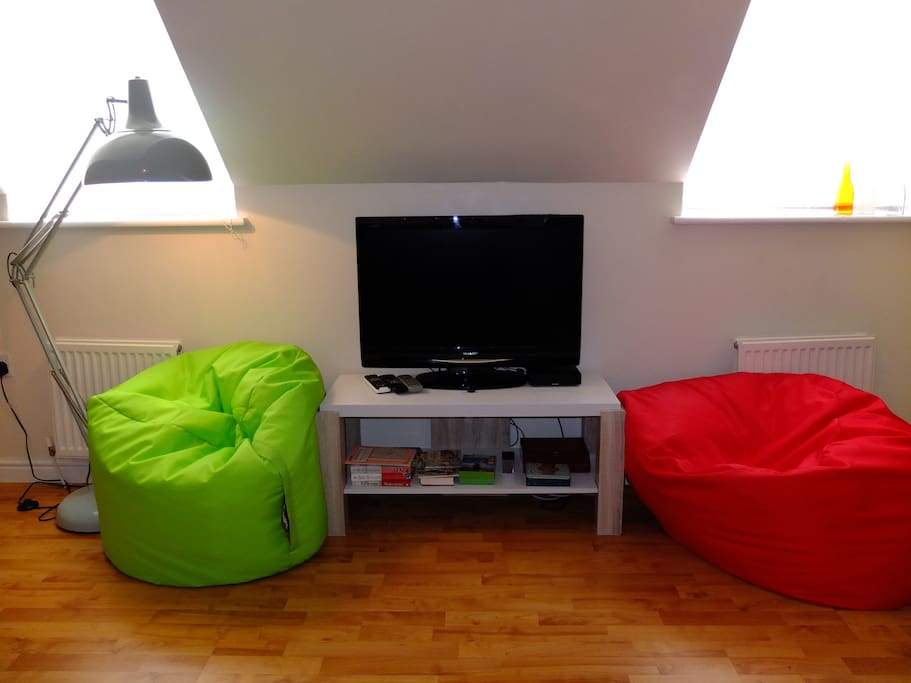 TV and beanbags for relaxing