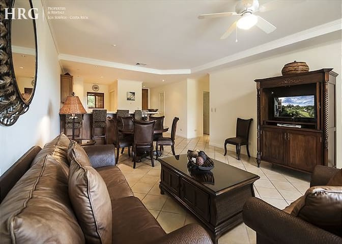 Spacious living and dining room area.