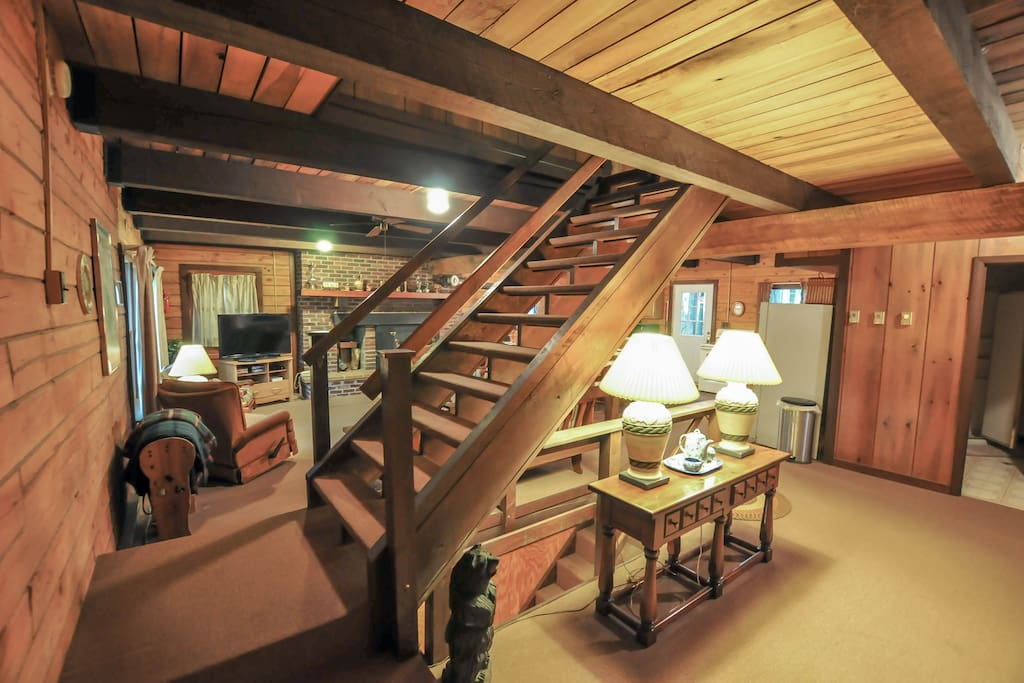 Great Room with steps to upstairs