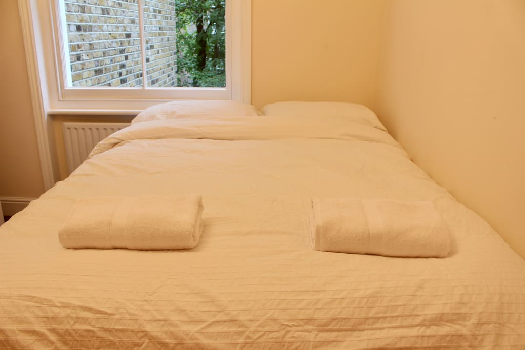 Guest Towel and fresh bed sheets provided