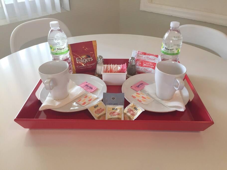 Welcome Package:water, coffee,tea,sugar, salt, ...