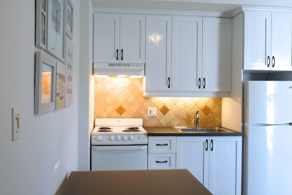 Kitchen equipped with all utensils and cookware and dishware and small appliances