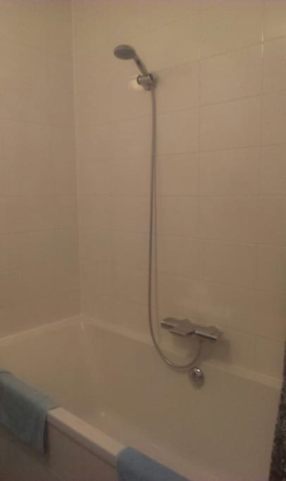 Bathroom, both with shower and bath.