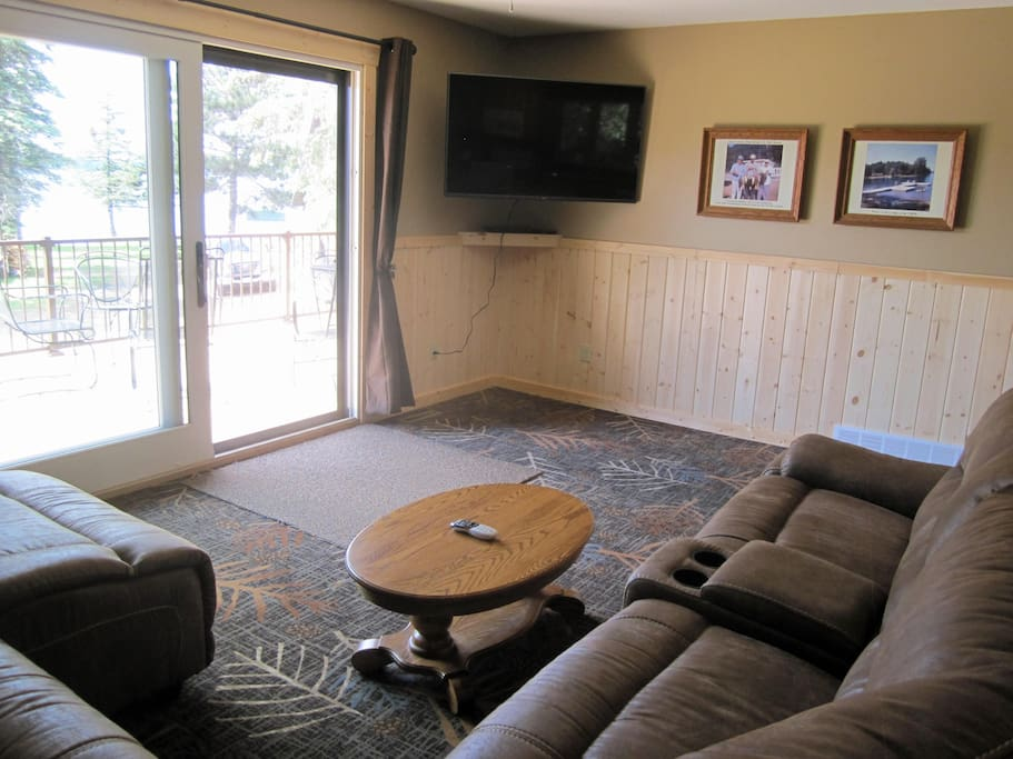 """Large leather sectional - 60"""" TV with DirecTV"""