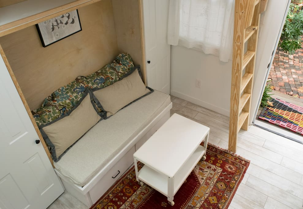Seating for two with storage underneath