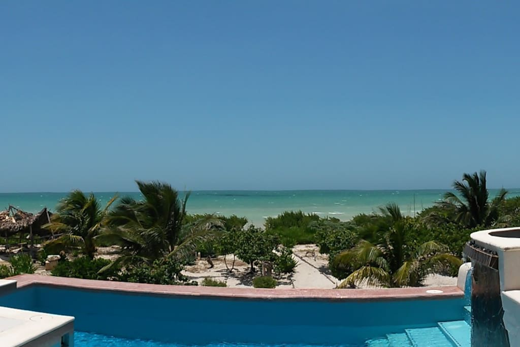 View of beach from pool deck