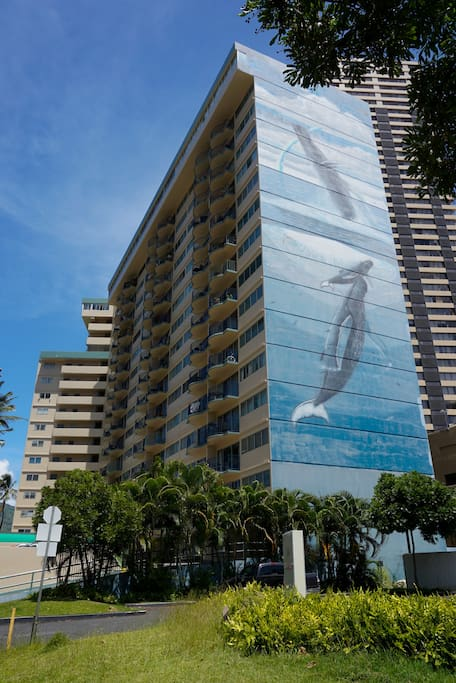 Worldly known Wyland's mural welcomes you.