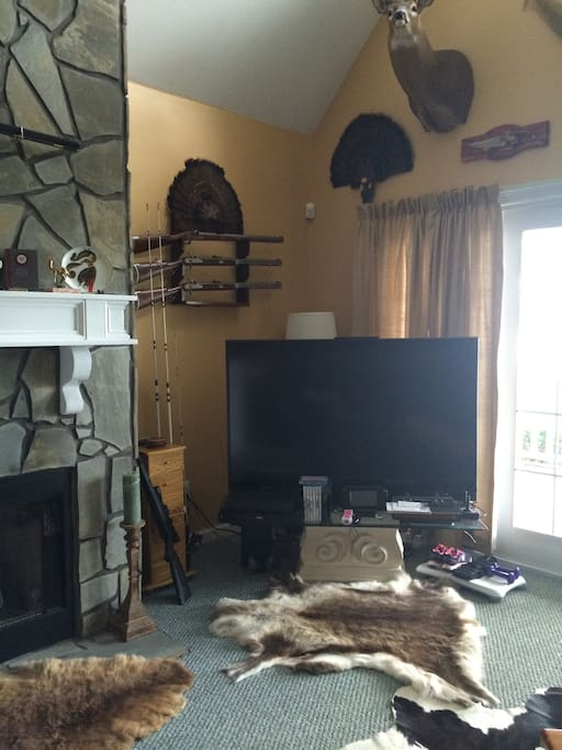 Lake View living room with large 3D TV. The property also has an extensive DVD collection, game consoles  and Cable TV